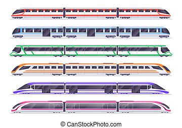 passagier, set, vervoer, stad, train., moderne, vector, metro, trains., spoorweg