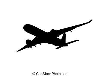 passagier, silhouette, straalvliegtuig