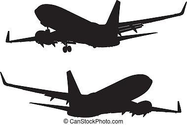 passagier, silhouette, tussenverdieping, lucht