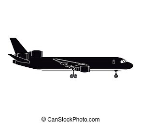 passagier, silhouette, zakelijk, luchthaven, vliegtuig, vervoeren