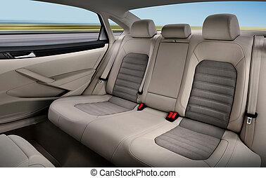passagier, sitze, zurück, auto