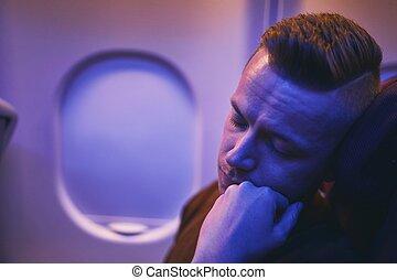 passagier, slapende, vlucht, gedurende, nacht