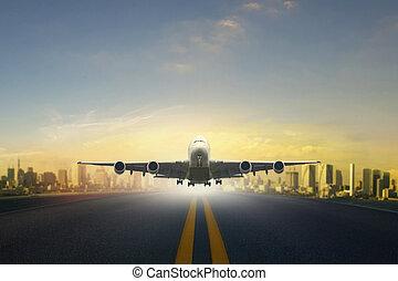 passagier, städtisch, nehmen, skyline, flughafen, eben, hintergrund, startbahn