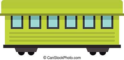 passagier, stijl, plat, auto, trein, pictogram
