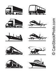 passagier, und, ladung, transportations
