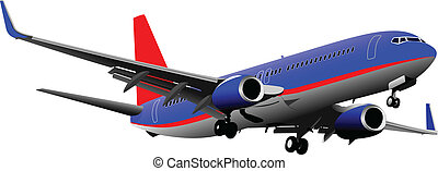 passagier, vect, airplanes., gekleurde