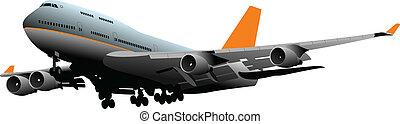 passagier, vector, illustra, vliegtuig.