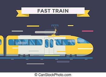 passagier, vector, vervoer, verzameling, treinen