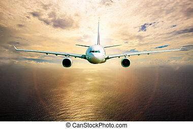 passagier verkehrsflugzeug, in, der, himmelsgewölbe