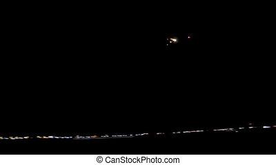 passagier verkehrsflugzeug, in, der, nacht himmel