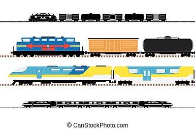passagier, vervoer, treinen