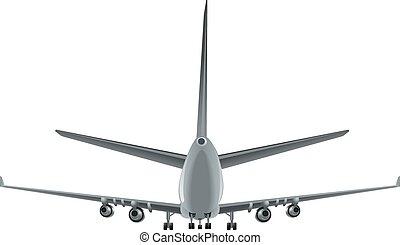 passagier, vliegtuig, achtermening