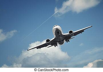 passagier, vliegtuig daling