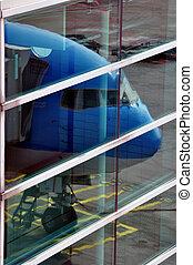 passagier, vliegtuig, neus, reflectie