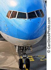 passagier, vliegtuig, neus