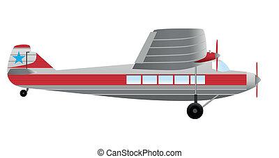 passagier, vliegtuig, retro