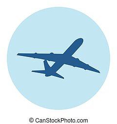passagier, vliegtuig, silhouette