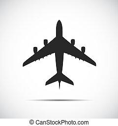 passagier, vliegtuig, silhouette, pictogram