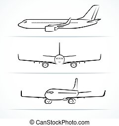 passagier, vliegtuig, silhouettes, contourlijnen, overzichten