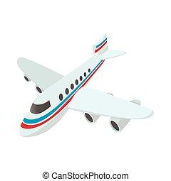 passagier, vliegtuig, spotprent, pictogram