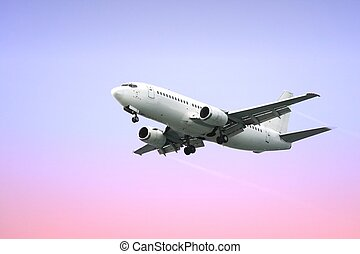 passagier, vliegtuig, straalvliegtuig