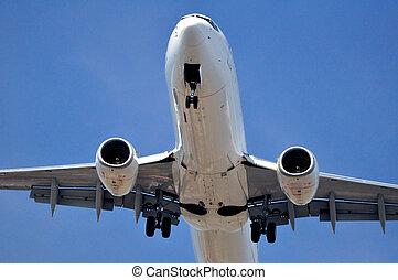 passagier, vliegtuig, transportation:, lucht