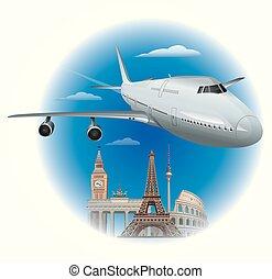 passagier, vliegtuig, vliegen