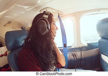 passagier, vliegtuig, vrouw