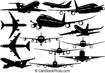 passagier, -, vliegtuigen, silhouettes, contourlijnen, lijnvliegtuig