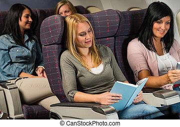 passagier, vrouw, vlucht, lezen, jonge, boek, vliegtuig