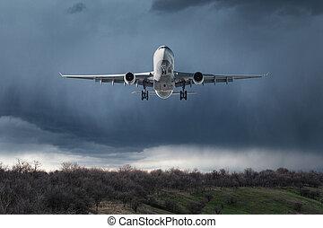 passagier, wolkenhimmel, fliegendes, himmelsgewölbe, weißes, motorflugzeug