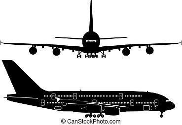 passagierdüsenflugzeug, silhouetten