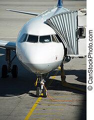 passagierflugzeug, in, der, flughafen., boarding.