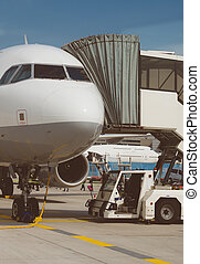 passagierflugzeug, in, der, flughafen., unboarding.