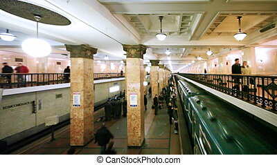 passagiers, komt aan, wederopleving, trein, rechts, metro...
