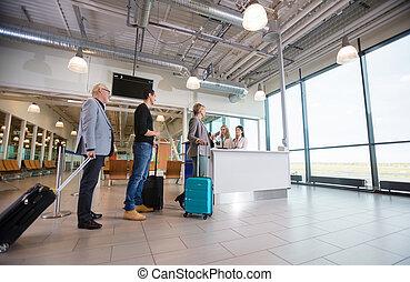 passagiers, luchthaven, wachten, ontvangst, bagage