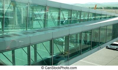 passagiers, wandelende, luchthaven
