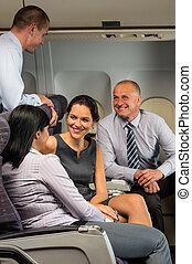 passagiers, zakenlui, vliegen, klesten, vliegtuig