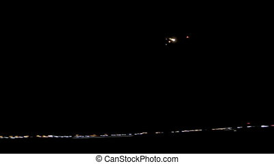 passagierslijnvliegtuig, in, de, avond lucht