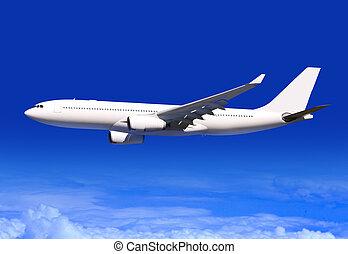 passagiersvliegtuig, op, wolken