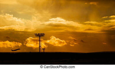 passagiersvliegtuig, vlieg, op, op, start, startbaan, van, luchthaven, op, ondergaande zon