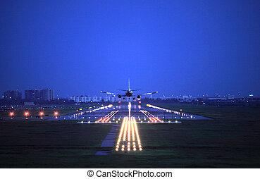 passagiersvliegtuig, vlieg, op, op, take-of