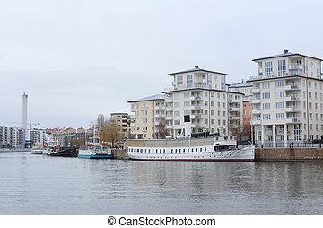 passanger boat - Stockholm, Sweden - March, 19, 2016:...