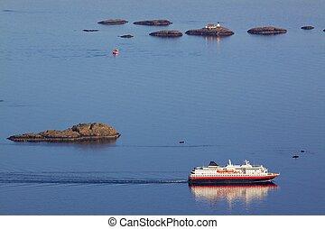 Passanger ship - Large passanger ship sailing along scenic...