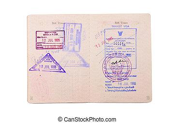 passaporte, com, selo