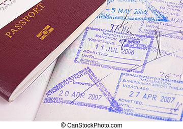 passaporte, e, imigração, selos