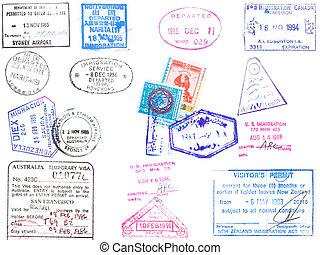 passaporte, selos, e, visa\'s