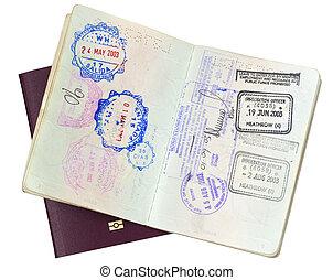 passaporte, selos, (with, path)