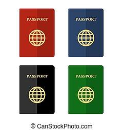 passaportes, apartamento, jogo, ícones, cor, vetorial, style.