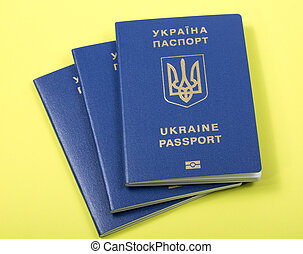 passaportes, biometric, fundo, amarela, ukrainian